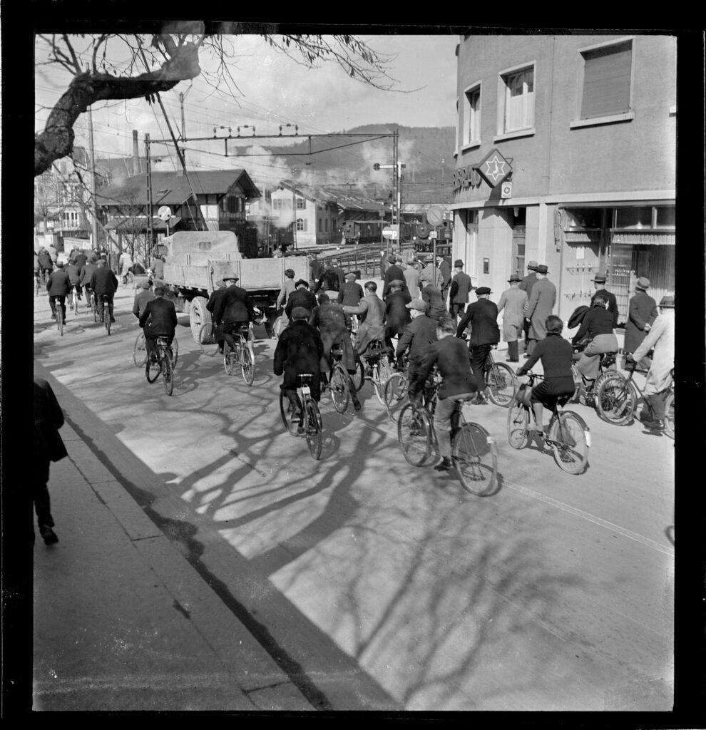 Veloverkehr Baden im 1937