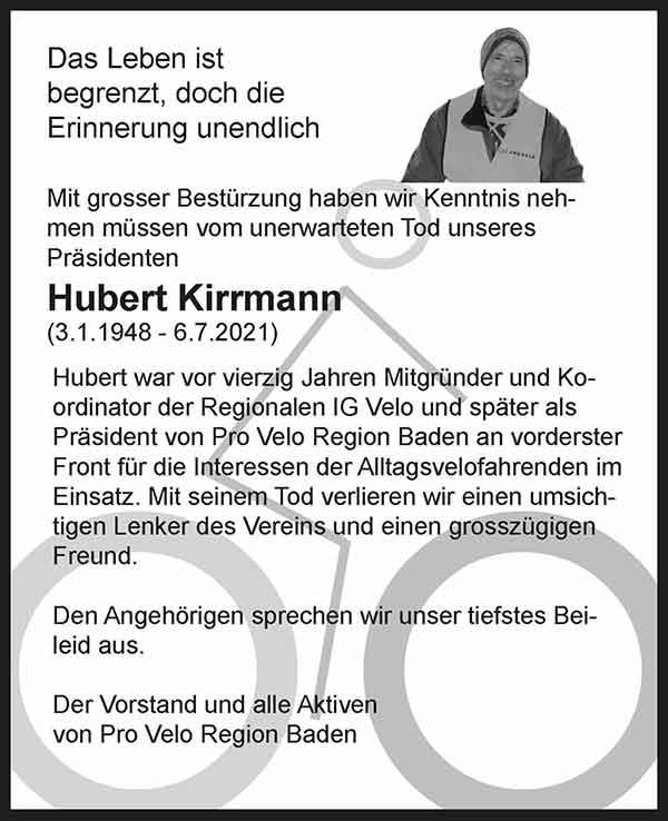 Todesanzeige Hubert Kirrmann